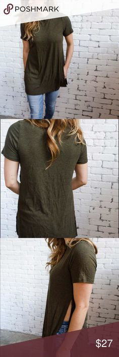 Olive Ribbed shirt with side slits. This olive ribbed shirt has the sexiest side slits. Fits true to size. Wearing a small in pictures. Pair with jeans or denim cutoffs. Sadie & Sage Tops Tees - Short Sleeve