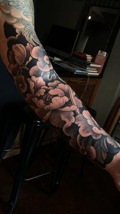 Tattoo portfolio by George Bardadim. Rose Tattoos For Men, Half Sleeve Tattoos For Guys, Arm Sleeve Tattoos, Japanese Sleeve Tattoos, Tattoo Sleeve Designs, Tattoos On Guys, Japanese Flower Tattoos, Men Tattoo Sleeves, Back Tattoo Men
