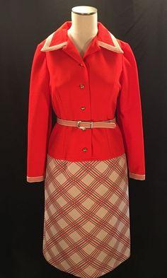 Vintage 60s Mod Dress Sz 12 Red Belted A Line Union Made USA L'Aiglon Halloween  #LAiglon
