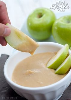 An easy 5 minute salted caramel dip recipe we use for apples, but you could put just about anything in here...