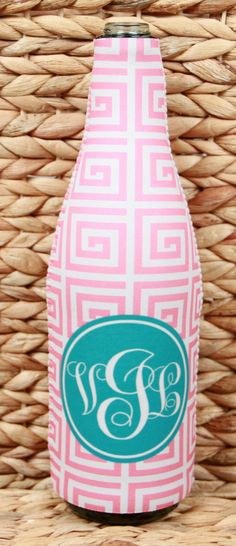 Monogrammed Wine Bottle Coozie, Personalized Wine Bottle Sleeve, Bridesmaids Gifts, Bridal Party Gifts, Holiday Hostess Gift, Christmas Gift by ChicMonogram on Etsy