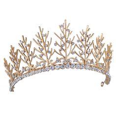 Amazon.com: Santfe Rhinestones Crystal Tree Leaf Style Bridal Tiara Crown…