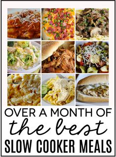 Over a month's worth of the best slow cooker meals! Easy to throw in and do other things while your dinner cooks. The best!!