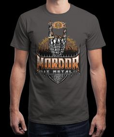 """Mordor is Metal"" is today's £8/€10/$12 tee for 24 hours only on www.Qwertee.com Pin this for a chance to win a FREE TEE this weekend. Follow us on pinterest.com/qwertee for a second! Thanks:)"