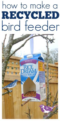 How to make a bird feeder out of a milk carton!  Sometimes nature needs a little bribe to come close, here is how to make that bribe! Gather your materials. You will need an empty Milk Carton, a bamboo skewer, dowel or chopstick, scissors, ribbon, and birdseed. You can also paint the feeder with nontoxic paint, but if you live in a wet climate like myself …