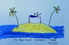 Tis Pina Colada - Lanzarote * FreeShipping purple yellow 🐈 🐈 ink on watercolour paper art artist Ink drawing by Peadar Sheerin Pina Colada, Purple Yellow, Watercolor Paper, Paper Art, Ink, Free Shipping, Drawings, Artist, Painting