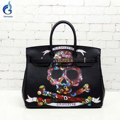a75a50b72f9a GAMYSTYE brand 2016 Women real Cow Leather Handbag Casual Women Messenger  Bags Hand Painted skull art bags black Custom Design Fashion  FashionWeek  ...