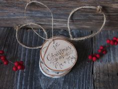 Birch Calligraphy Ornament  Our First Christmas  by FirandForest, $13.00