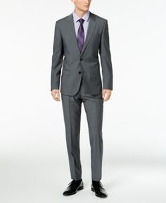 008660fa Hugo Men's Slim-Fit Dark Gray Suit - Gray 44L Dark Gray Suit, Grey