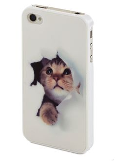 Peek-a-Mew iPhone 4/4S Case. Its no wonder that a feline-friendly gal like you would tote a darling, cat-printed case on your iPhone! #white #modcloth