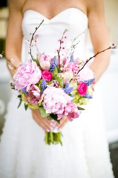 Stunning pink and purple bouquet! // photo by Saltwater Studios // see more: http://theeverylastdetail.com/2013/08/23/a-modern-eclectic-pink-and-blue-new-jersey-wedding/