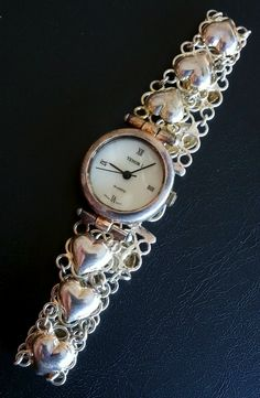 Signed 925 Sterling Silver Vintage Style TENOR I Wrist Watch Heart MOP 1061...  #chain #filigree #heart #silver #vintage #jewelry