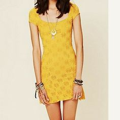 Free people daisy mustard dress NWOT Free People Dresses