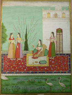 Radha ko prachanna citra darsana, Radha's hidden meeting [with her lover] through a painting (Rasikapriya 4, 8).  335 x 250 mm.  Deccan, perhaps Aurangabad, 1720-30.