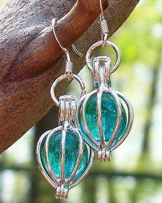 Recycled Antique Mason Jar Earrings by BottledUpDesigns
