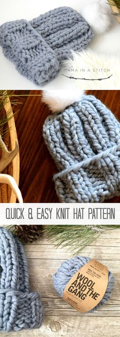 Quick Chunky Knit Hat Pattern via @MamaInAStitch free pattern #crafts #diy
