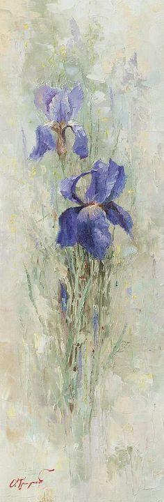 Irises In The Garden Painting  - Irises In The Garden Fine Art Print