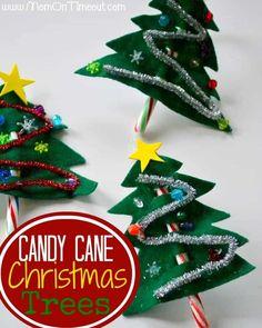 Candy Canes Christmas Tree Craft | MomOnTimeout.com #Christmas #craft #kids