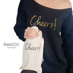 Shop our wide neck fleece sweatshirt & matching wine bag at www.sissiandco.com!   #SissiAndCo #InspiredStyle #Cheers #Inspire #Sweatshirts #WineBag #Gifts #GiftSets #ThatsDarling