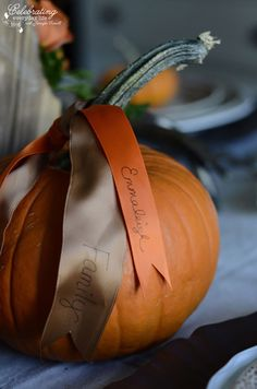 Gratitude ribbons; {Thanksgiving DIY} How to make your own Thanksgiving Centerpiece from the Grocery store!