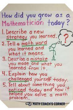 Math Talk - Math Share time? Encouraging Student Self-Reflection | http://www.mathcoachscorner.com/2016/10/student-self-reflection/