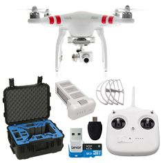 DJI Phantom 2 Vision+ Quadcopter (Version 3.0) with FPV HD Video Camera and 3-Axis Gimbal + Go Proffessional Hard Case + Extra Phantom Battery + Lexar 32 GB Micro SDHC + Propeller Guards + Card Reader Camera with 3-Axis Gimbal Stabilizer Takes 14MP Still and 1080p Video Wi-Fi Downlink for Smartphones iOS/Android App for Monitoring/Control GPS-Based Autopilot with Return to Home http://www.amazon.com/gp/product/B00TKH3Q0A/ref=as_li_tl?ie=UTF8&camp=1789&creative=390957&creativeASIN=B00TKH3Q0