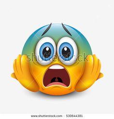 Scared emoticon holding head, emoji, smiley - vector illustration