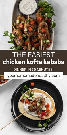 Juicy ground chicken and warm mediterranean spices combine to provide a flavorful healthy meal. If you've never tried kofta before, don't be afraid! It's really just mediterranean meatballs. These chicken kofta kebabs are quick, easy, and delicious! In just under 30 minutes, you'll have a complete dinner full of protein-packed chicken skewers, israeli salad, and lemon dill yogurt sauce. Double the recipe to serve to guests at a dinner party or make just enough for a date night dinner for… Ground Chicken Recipes, Healthy Chicken Recipes, Healthy Dinner Recipes, Israeli Salad, Mediterranean Spices, Healthy Sandwiches, Yogurt Sauce, Chicken Skewers, Kebabs