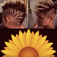 Adrielle Lino with hair design by Hinano Lino. Find him on Instagram: @Hawaiis_barber. Flower. Hair design. Paul Mitchell. Women's undercut. Undercut. Short hair. Edgy hair. Short blonde hair. Shaved head. Barber. Short hairstyle for women. Cute hair. Sunflower design. Beauty. Wahl tattoo. Burst fade.