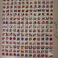 "Love love love!!!!!!   Mexican Textile Otomi Fabric Hand Embroidered Cotton 64 x 73 """" OOAK S72 