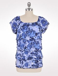 Tiered Abstract Floral Top | Dressbarn
