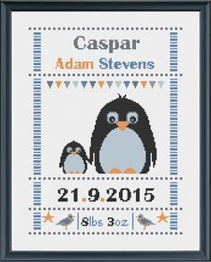 cross stitch baby birth sampler, birth announcement, penguin, DIY customizable…