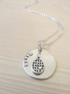 Personalized tennis racket necklace Gift Hand by TwoCharmingDreams, $16.00 https://www.etsy.com/listing/167799327/personalized-tennis-racket-necklace-gift