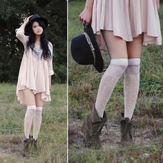 Flowy feminine style, over knee socks with a Flowy top. It's a bit frilly to me but I honestly really like it for some reason.
