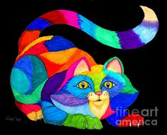 Cat Drawing - Frisky Cat by Nick Gustafson I Love Cats, Crazy Cats, Cool Cats, Frida Art, Art Africain, Cat Quilt, Cat Colors, Arte Pop, Cat Drawing