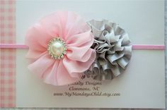 Pink and Gray Headband -  Baby Headband, Girls Headband, Toddler Headband, Newborn Headband