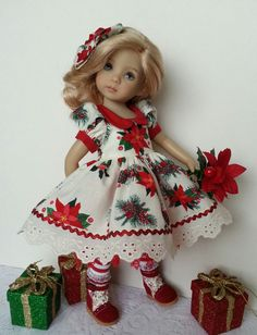 "Christmas Cotton Dress with Red Collar and Poinsettia theme. For Little Darling 13"" Doll by Salstuff. Sold on Facebook by Sally Channon"