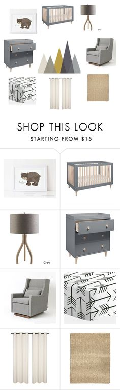 Modern Boys Adventure Nursery featuring mountain decals, arrow bedding, bear footprint art, natural fabrics and modern gray nursery furntiture. Includes brands such as Gus* Modern, Surya, Babyletto & pitterpatterprint