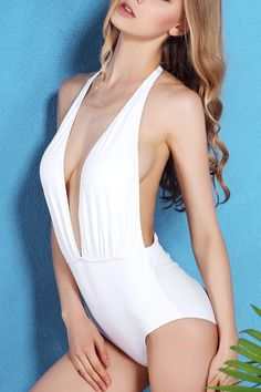 71c86d22af8 Solid Color Open Back Halter One-Piece Swimwear WHITE: One-Pieces   ZAFUL