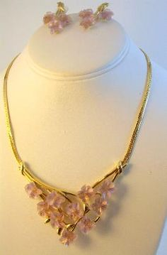 Crown Trifari Lucite Flower Necklace and Earrings