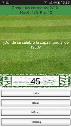 - Trivial Mundiales de Fútbol es un juego de preguntas y respuestas sobre la historia de los mundiales de fútbol (desde Uruguay 1930 hasta Brasil 2014) en el cual tendrás que finalizar los cinco niveles antes de que se acabe el tiempo.<p>- El sistema de juego es sencillo, si aciertas una pregunta se bonificará con diez segundos para seguir jugando. Si fallas, el cronometro bajará diez segundos.<p>- Cuantos más segundos consigas al finalizar la partida más puntos obtendrás.<p>- Logueate en G…
