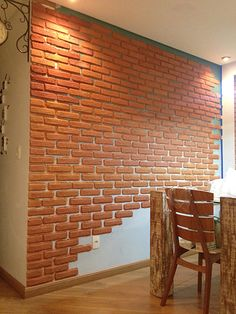 How to make a brick wall decoration - Home Page Decor, House Design, Diy Brick Wall, Home Decor, Wall Painting, Diy Wall, Brick Wall, Diy Wall Painting, Wall Design