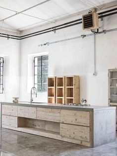 cucina cemento e legno