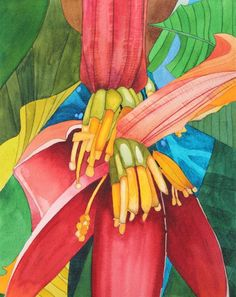 BANANA TREE FLOWER: Watercolor Fruit, Watercolor Flowers, Watercolor Paintings, Acrylic Paintings, Watercolors, Tropical Art, Tropical Flowers, Banana Flower, Still Life Art