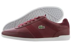 Lacoste Giron Leather Trainers : Dark Red Trainers #Lacoste #Trainers