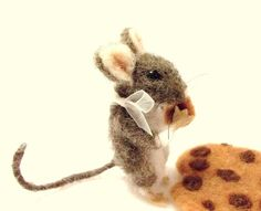 Cookie Mouse is A Needle Felted Mouse Who Loves by WildWoodHollow, $68.00