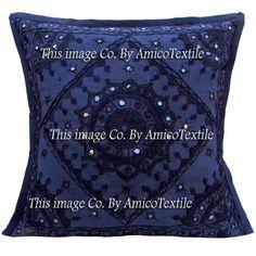 "16"" Indian Cushion Pillow Cover Throw Embroidery Mirror Blue Cotton Decor India  #Handmade #Mirror"