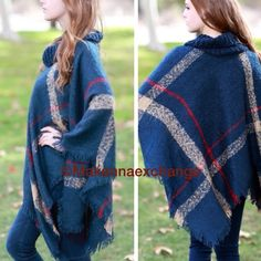 Plaid Frayed Hem Turtleneck Poncho Poncho features plaid pattern and turtleneck.  One size fits most. Lowest prices are listed upfront. Material is 100% acrylic. Jackets & Coats