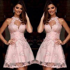 Vestidos de Coctel elegantes Rosa Halter de Encaje Apliques Corto Vestido de Fiesta Sin Respaldo Vestidos de Partido Plus Robe de Cocktail 2016