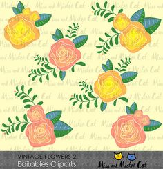Vintage Flowers Cliparts. Flowers vector graphics, Vintage Flowers digital clip art, digital images. Commercial use. Model Vintage Flowers 2